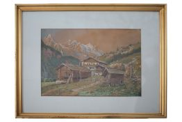 Alpine landscape with houses