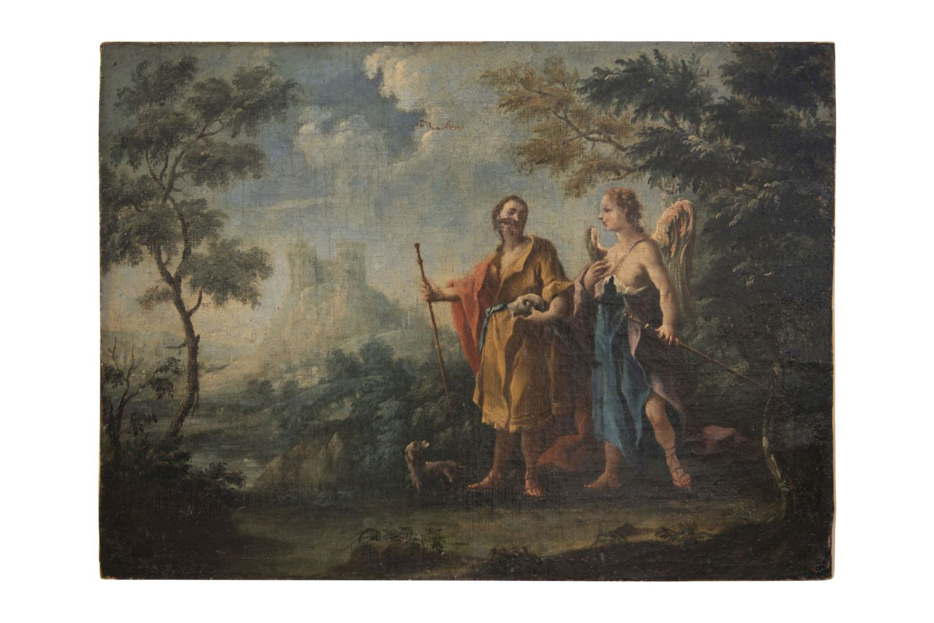 "Baroque painter of the 18th century ""Jesus with 2 apostles and archangels Raphael and Tobias"" - Image 2 of 11"