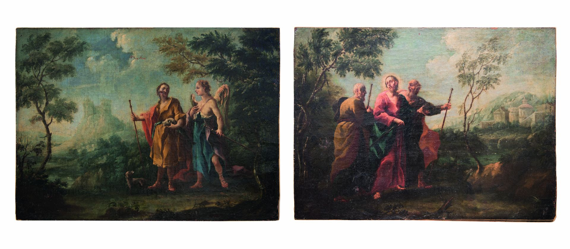 "Baroque painter of the 18th century ""Jesus with 2 apostles and archangels Raphael and Tobias"""