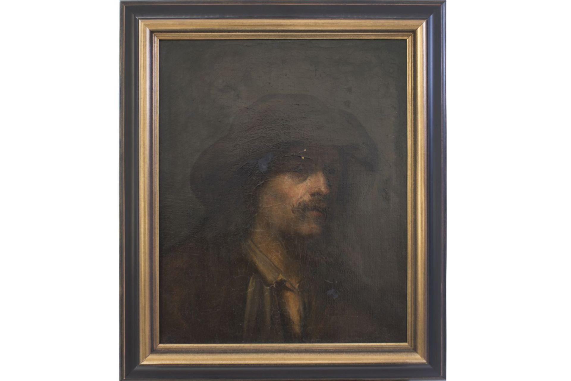 "Attributed to Mihály von Munkácsy (1844-1900) ""Bearded man with floppy hat"""
