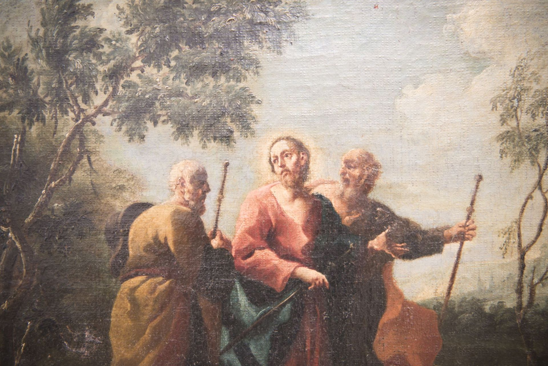 "Baroque painter of the 18th century ""Jesus with 2 apostles and archangels Raphael and Tobias"" - Image 8 of 11"