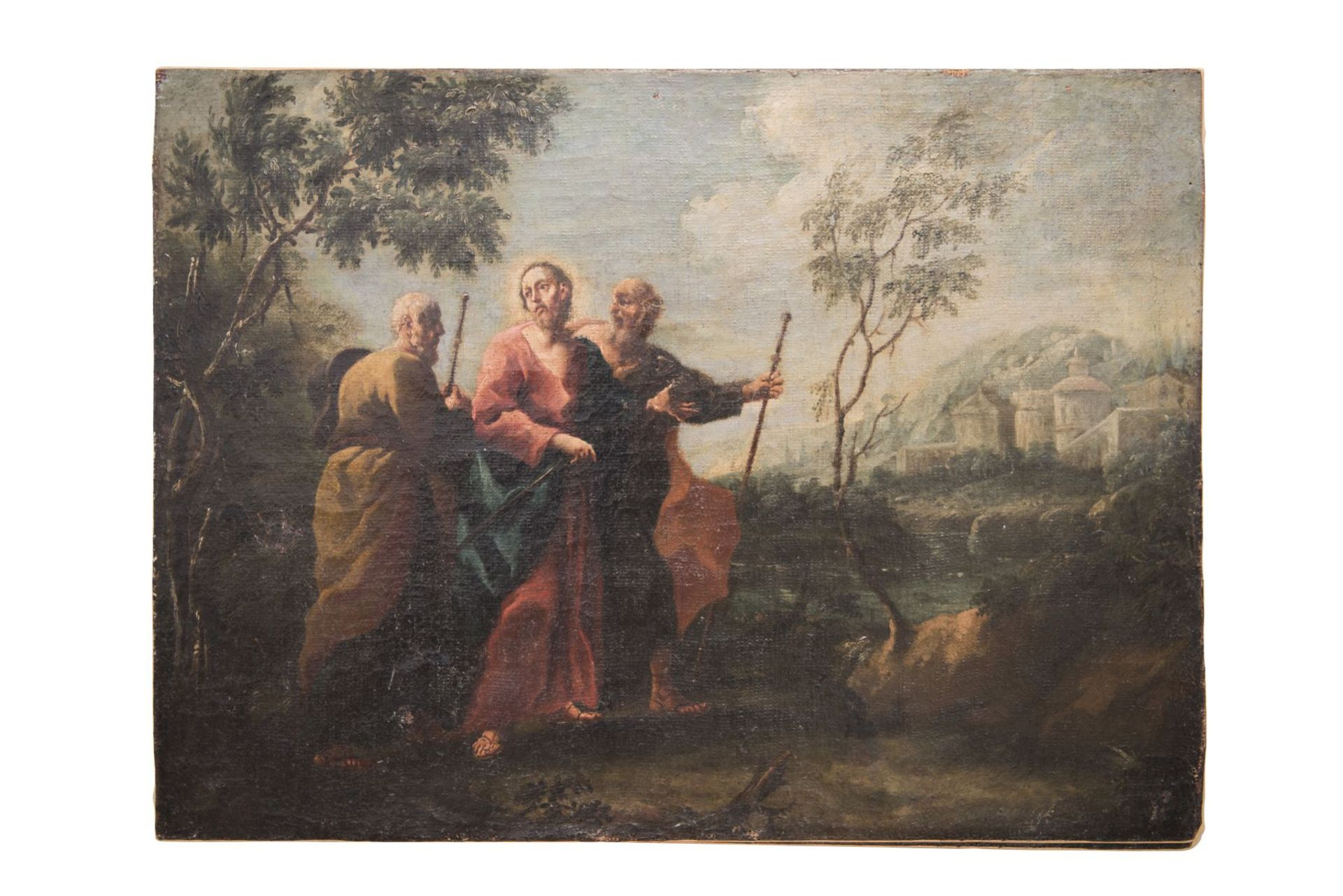 "Baroque painter of the 18th century ""Jesus with 2 apostles and archangels Raphael and Tobias"" - Image 7 of 11"