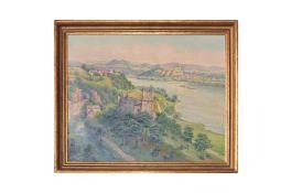"""Adolf Wiesler (1878-1958) """"View Ruin Welteneg to Melk Donau"""""""
