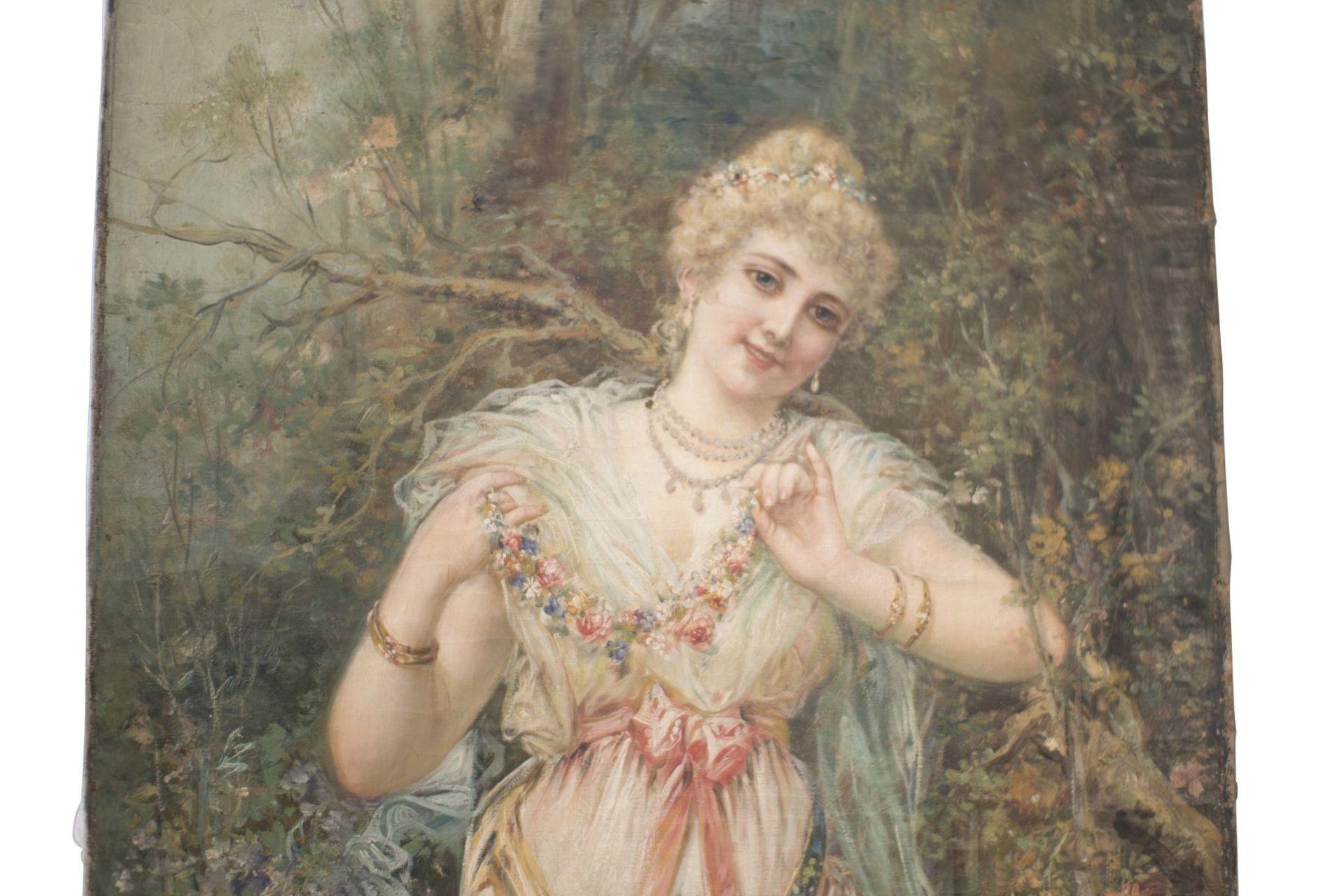 "Hans Zatzka (1859-1945) School ""Lady with flower garland"" - Image 2 of 5"