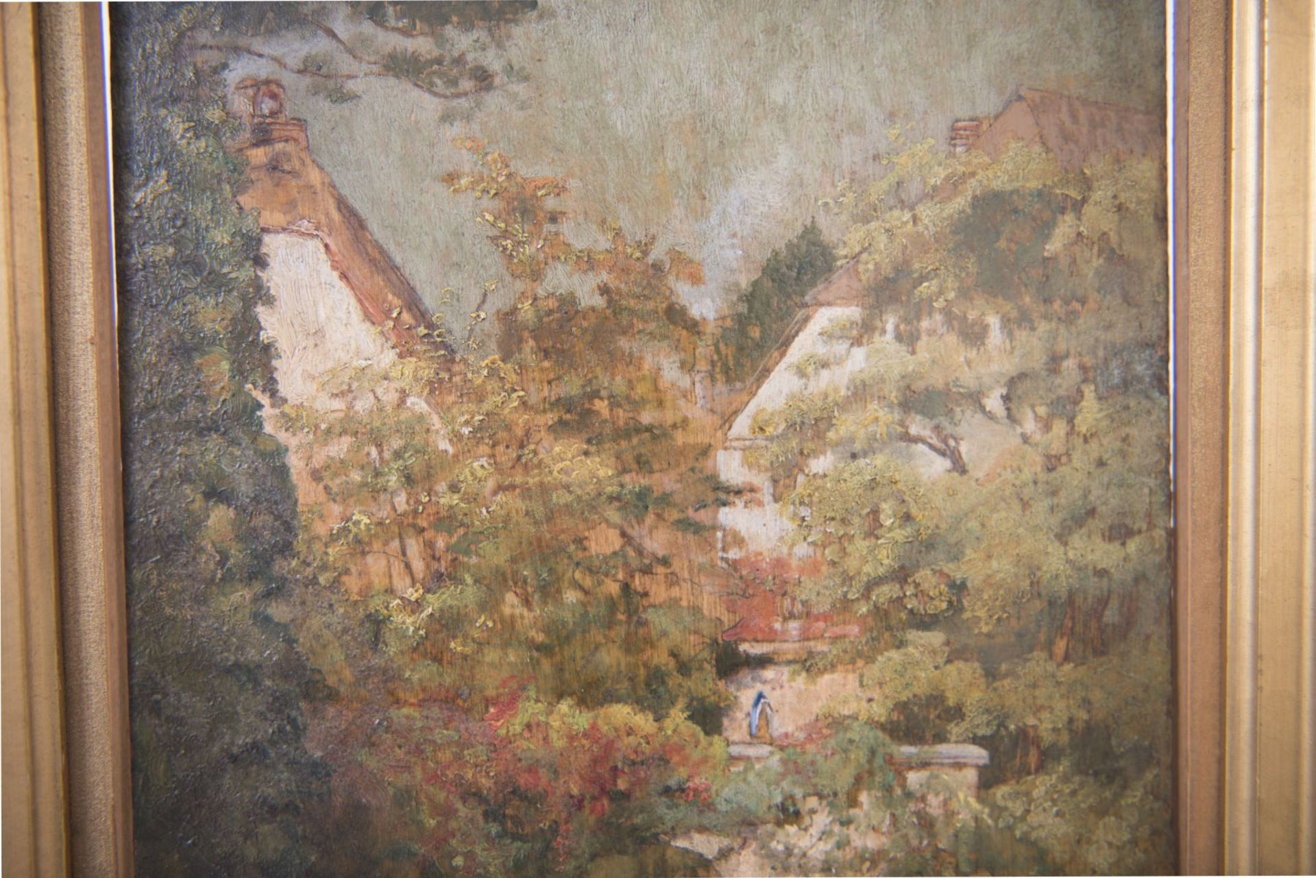 Impressionistic view of two houses by a river, late 19th century - Image 2 of 6