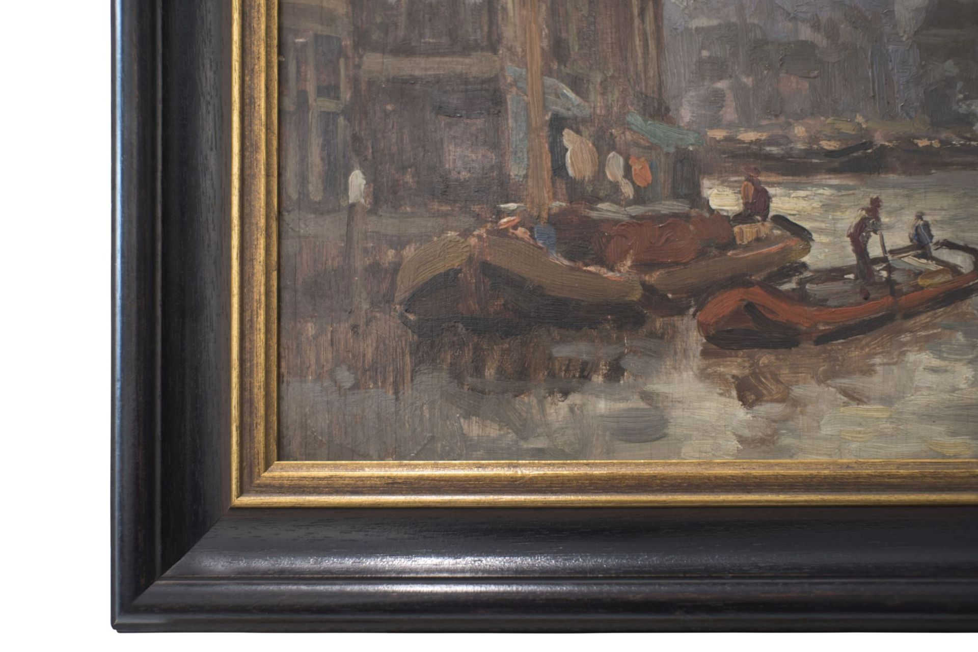 """Artist late 19th century """"Impressionist view of a Dutch port city"""" - Image 4 of 5"""