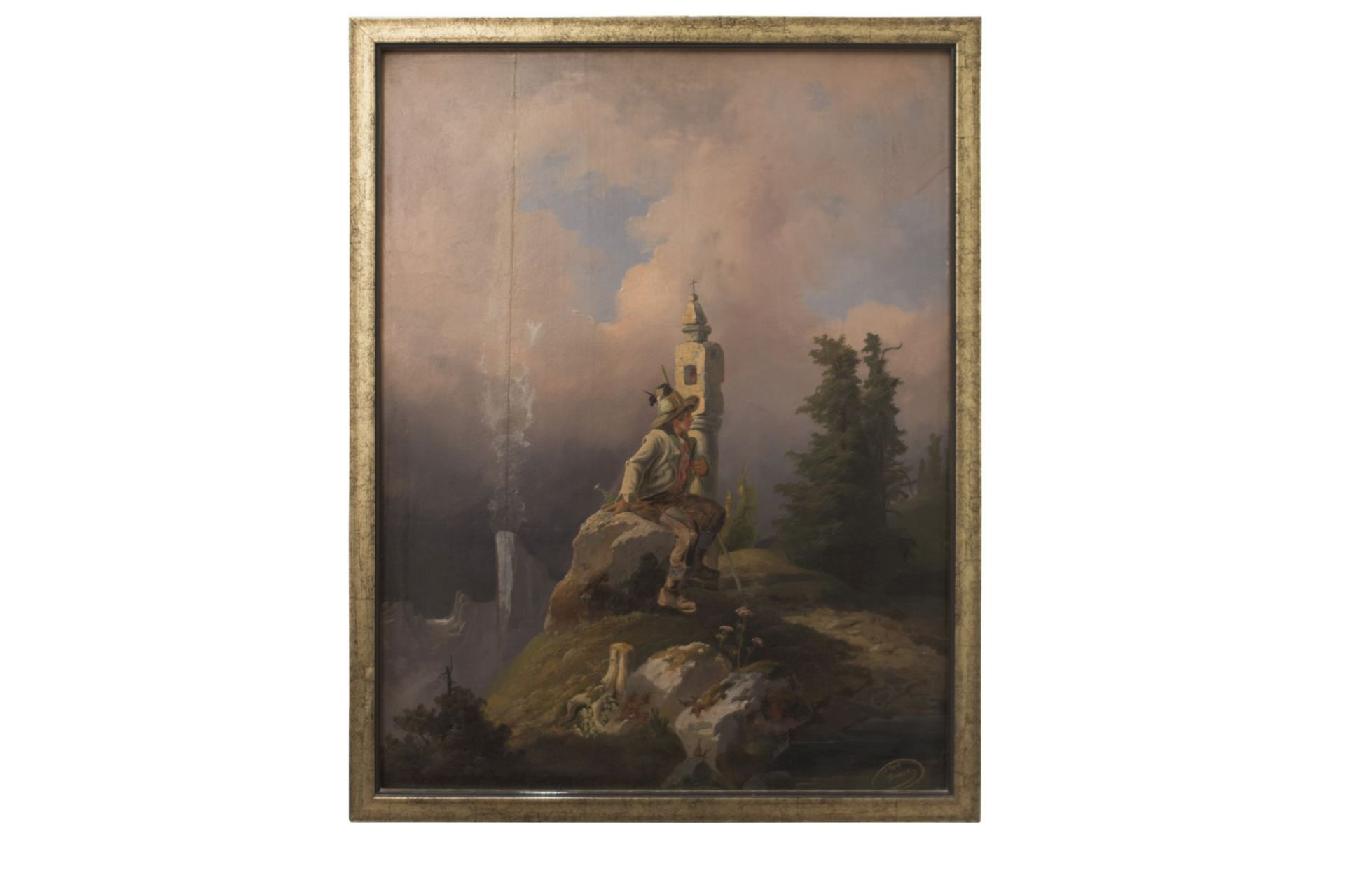 """Painter from the circle Friedrich Gauermann """"Hunter in the high mountains"""" - Image 5 of 9"""