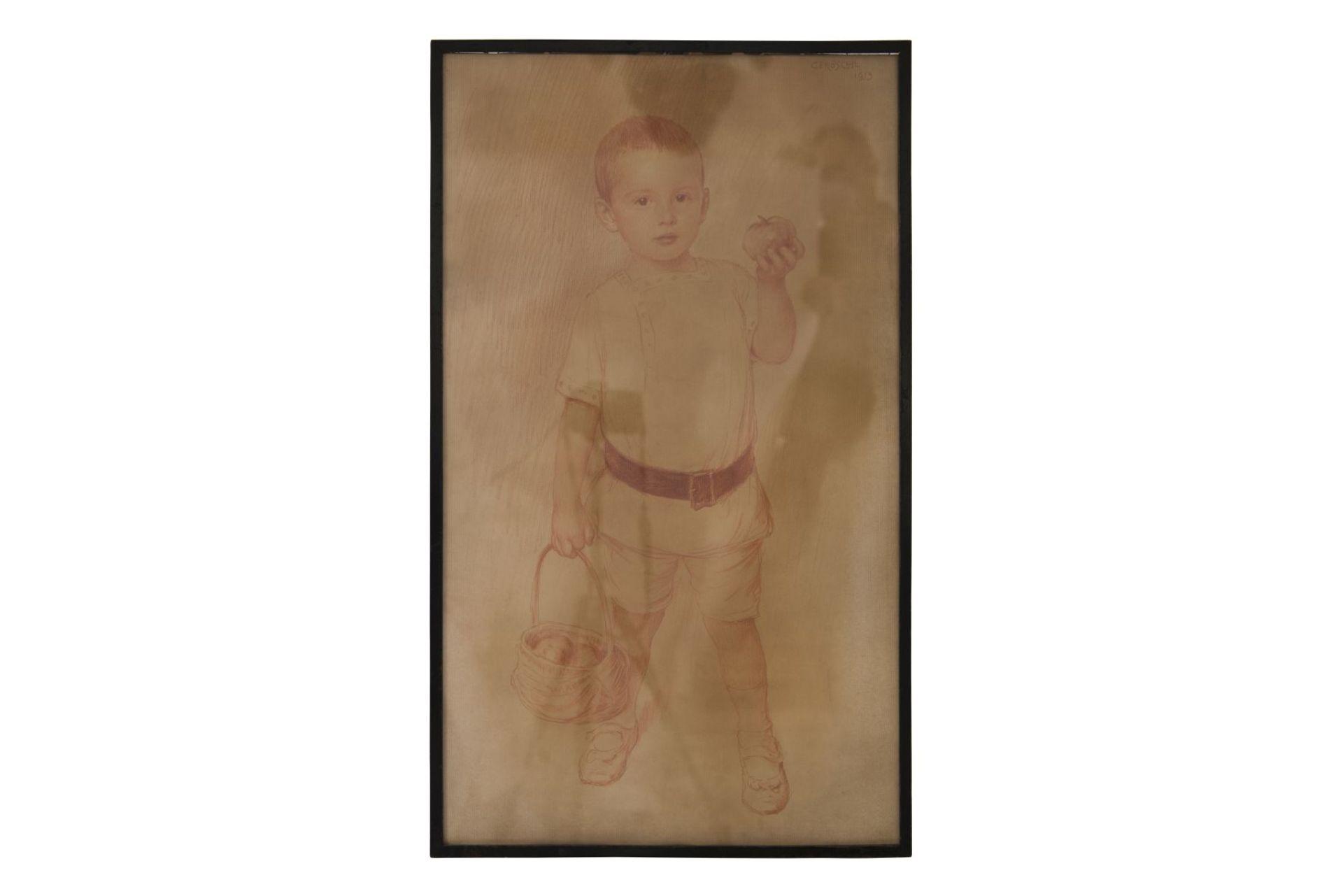"Carl Fröschl Vienna (1848-1934) ""Boy with apple basket"""
