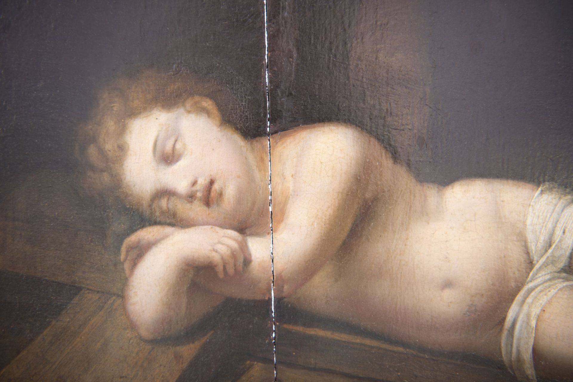 """French painter of the 19th century """"Sleeping baby Jesus with cross"""" - Image 2 of 6"""