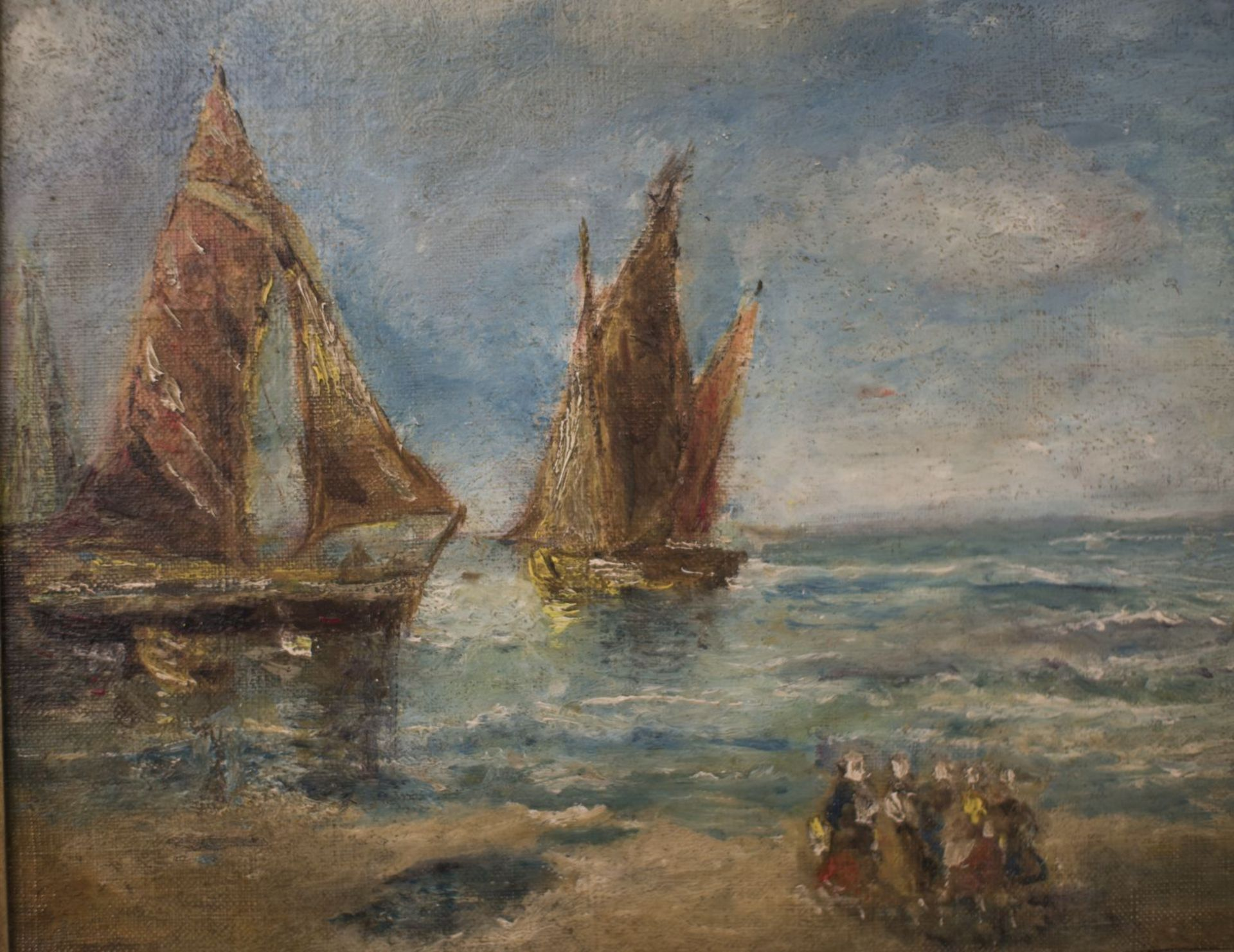 """Attributed to Eugéne Baudin (1843-1907) """"Sailing ships with waiting women"""" - Image 2 of 3"""