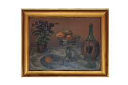 """Adolf Wiesler (1878-1958) """"Still life with fruits, flowers and a Chianti bottle"""""""