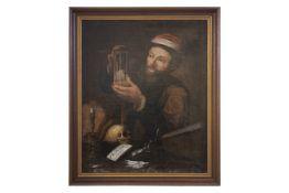 "German painter around 1720 ""Doctor with hourglass, Memento Mori"""