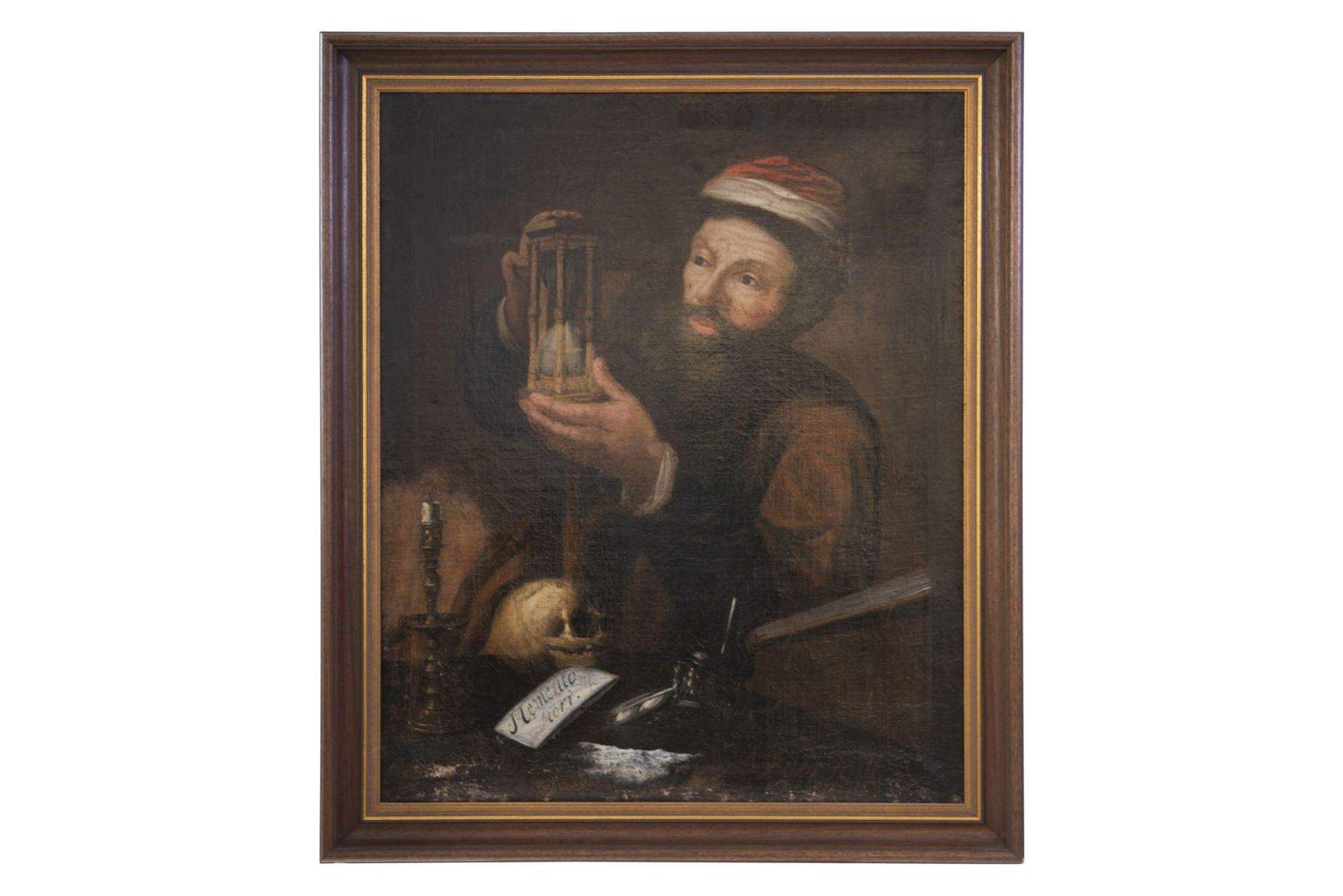 "German painter around 1720 ""Doctor with hourglass, Memento Mori"""