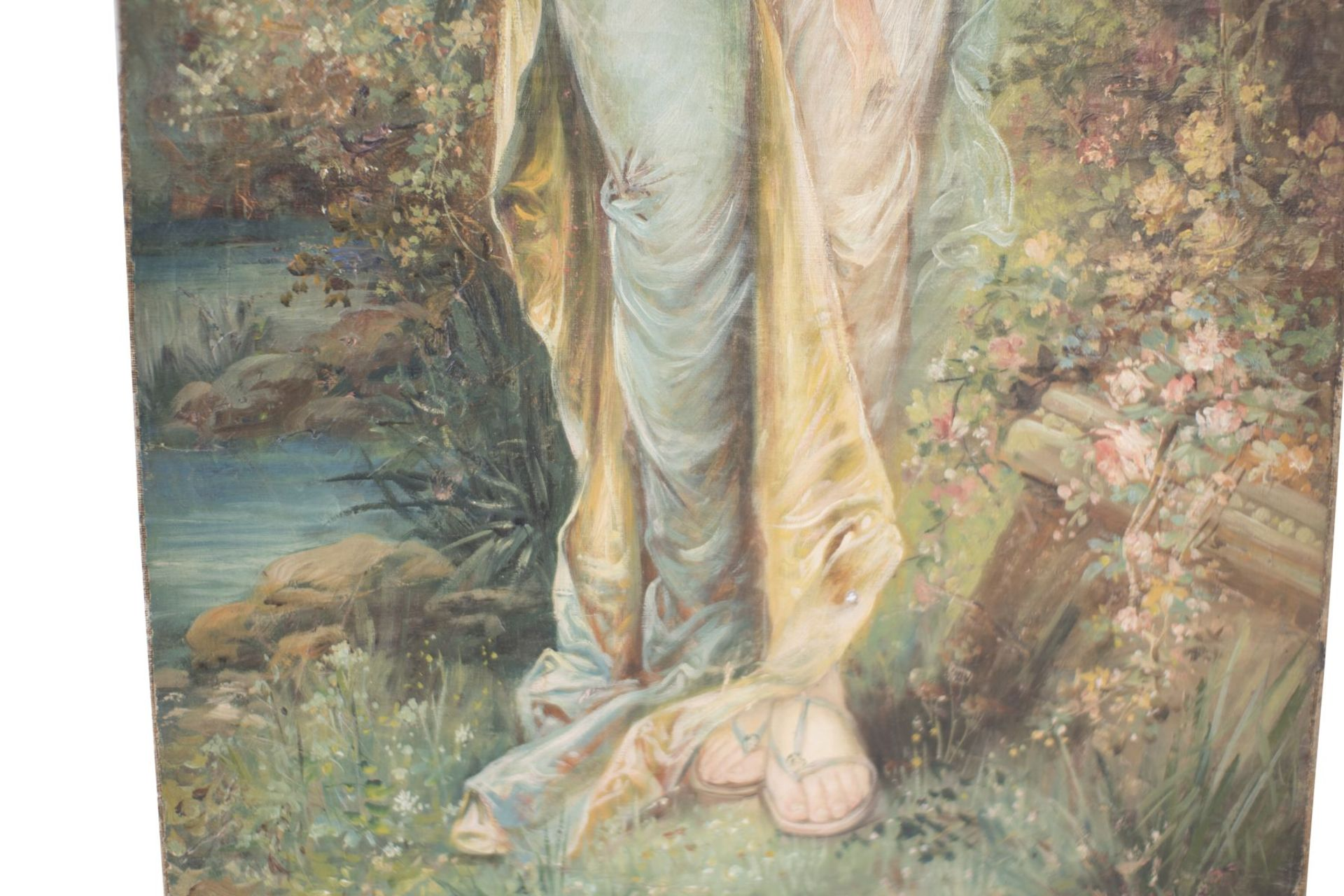 "Hans Zatzka (1859-1945) School ""Lady with flower garland"" - Image 3 of 5"