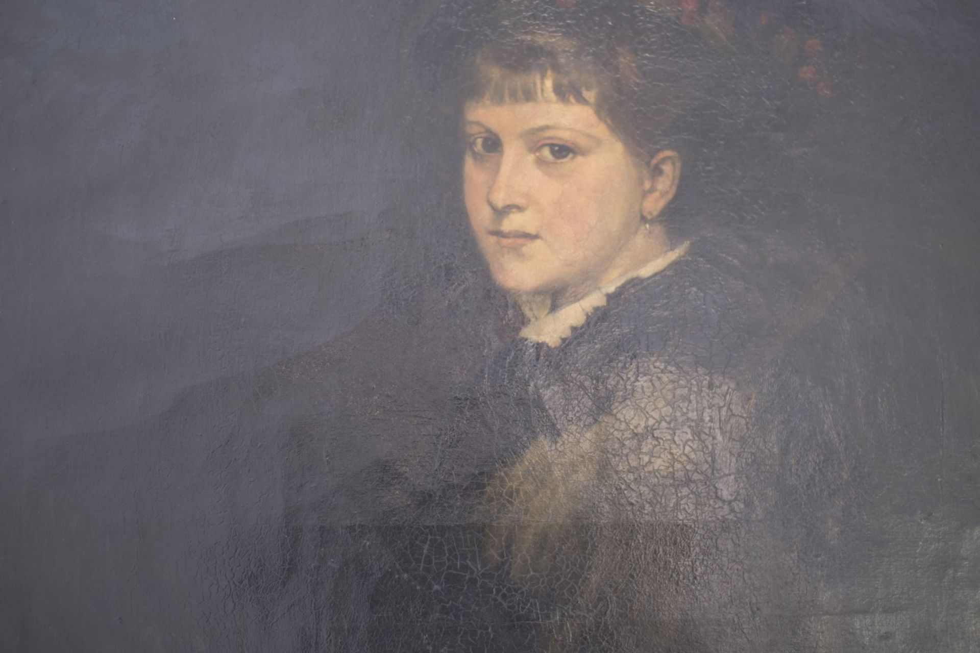"""Portrait """"Lady in Black"""" attributed to Franz von Lenbach (1836-1904) - Image 2 of 3"""