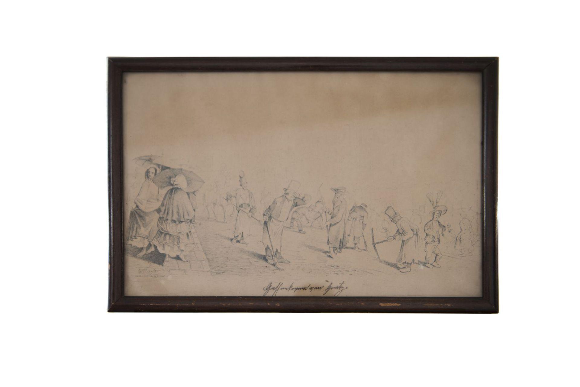 """Artist around 1830 """"Street scene from the Biedermeier period"""""""