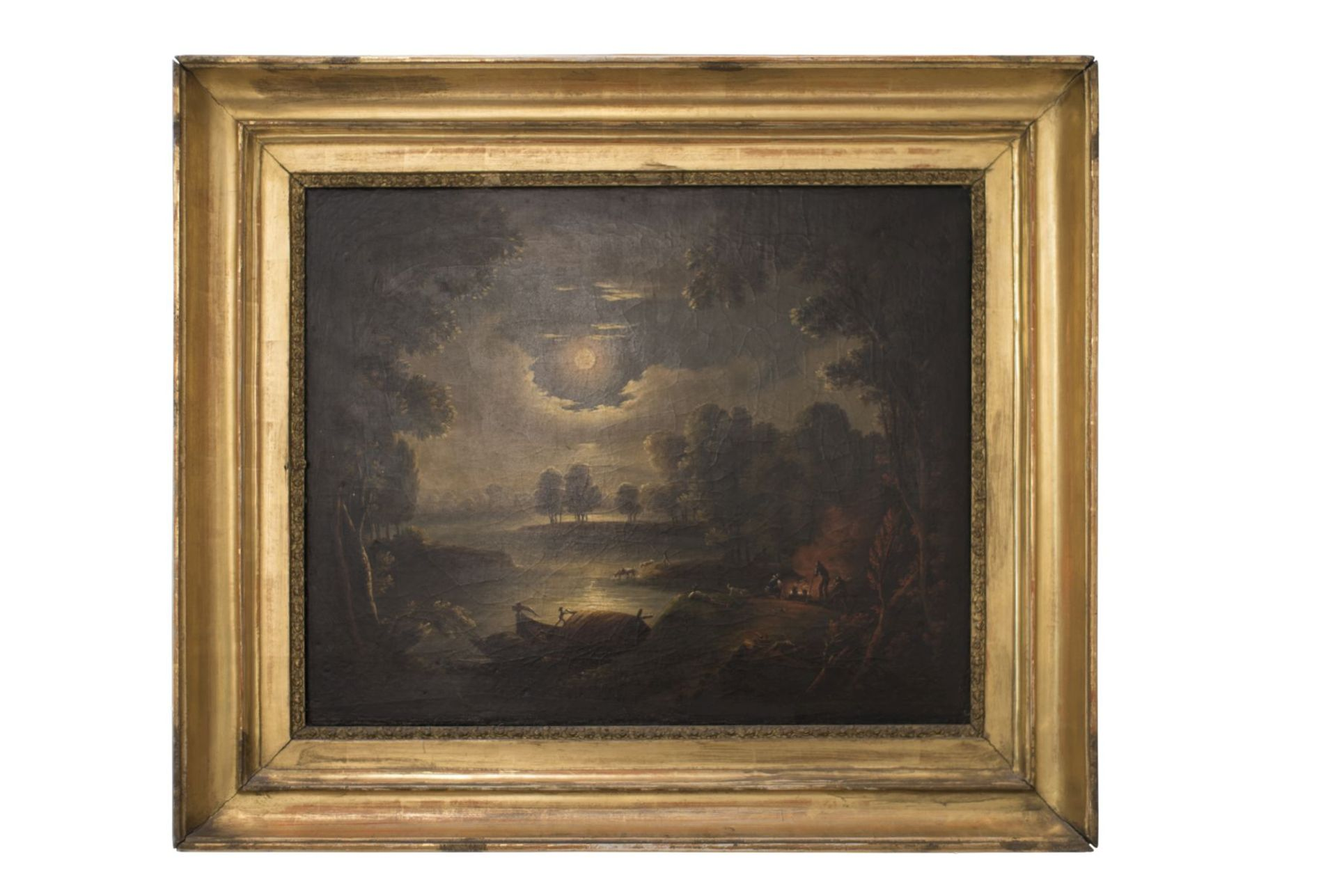 """Thèodore Rousseau (1812-1867) Circle, Barbizon """"French Landscape in the Full Moon"""" - Image 6 of 6"""
