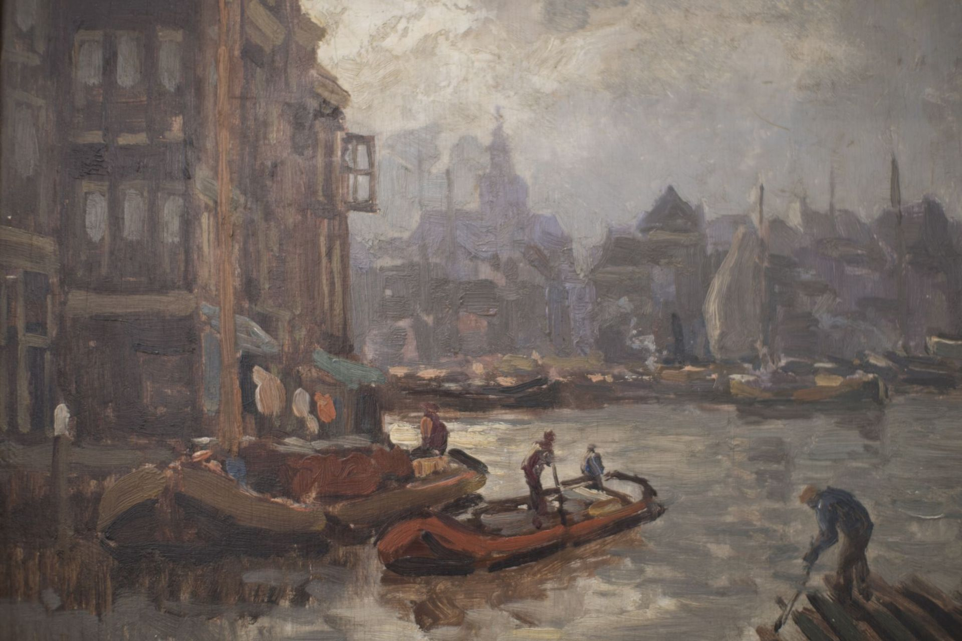 """Artist late 19th century """"Impressionist view of a Dutch port city"""" - Image 2 of 5"""