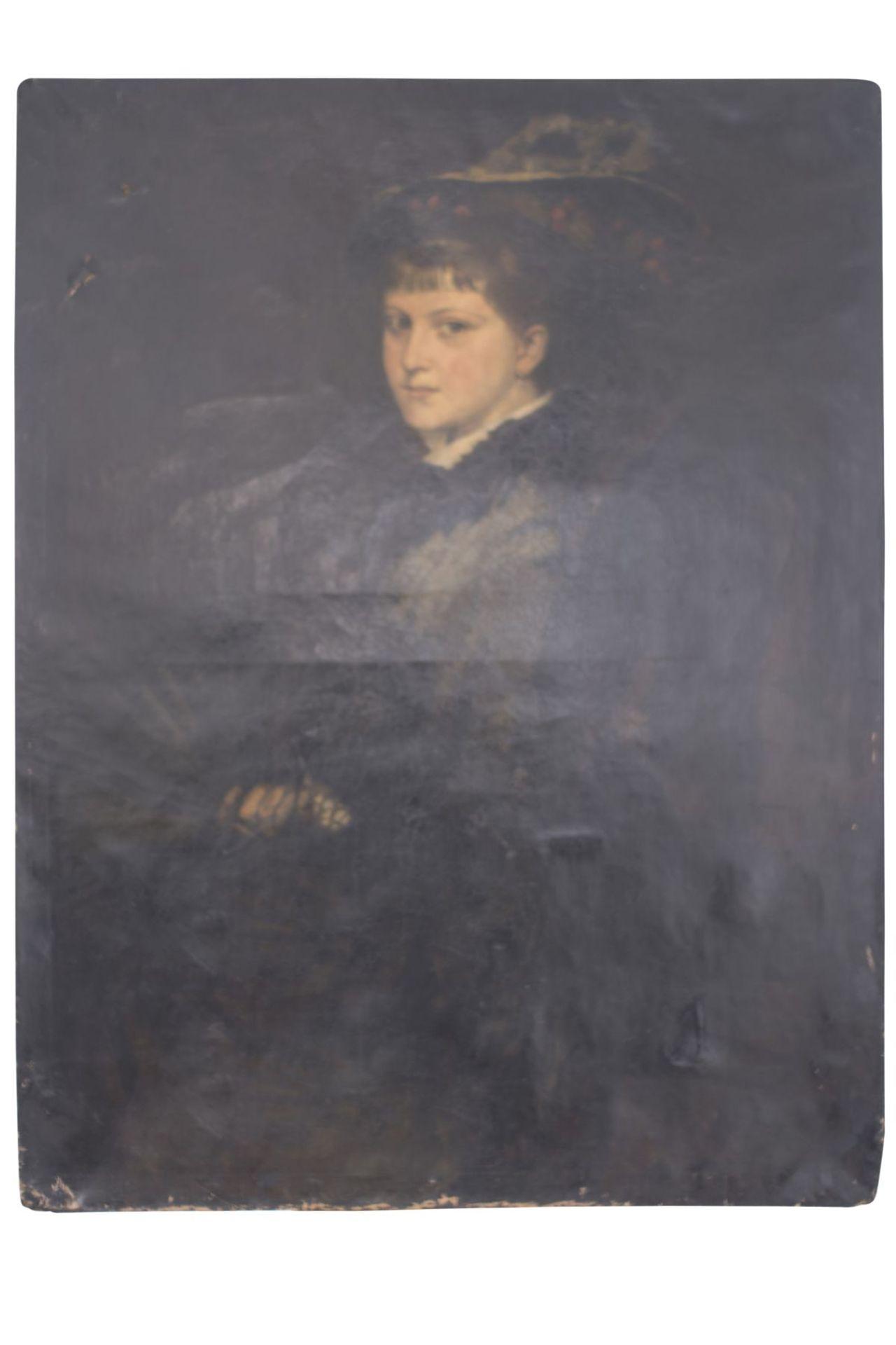 """Portrait """"Lady in Black"""" attributed to Franz von Lenbach (1836-1904)"""
