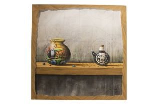 """Jose Vicente (1977) """"Modern still life with vases"""", 2008"""