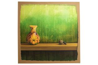 "Jose Vicente (1977) "" Vase against green background"