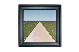 """Josef Bramer (1948) """"House gables in front of landscape""""."""