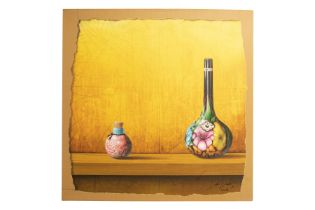 """Jose Vicente (1977) """"Painted wine bottle and small jar against colored background""""."""