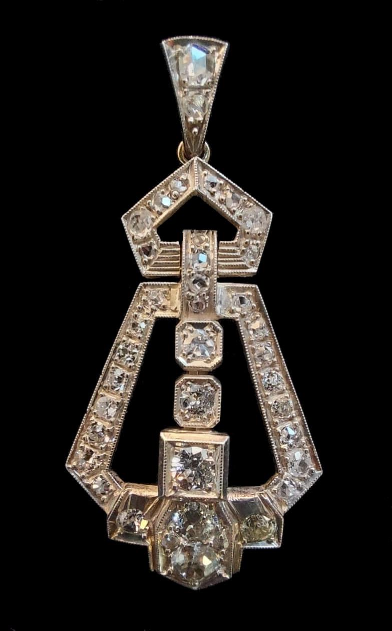 Diamond Pendant   Art - Deco - Image 4 of 5