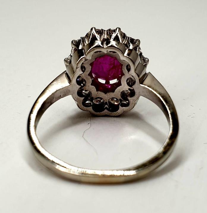 Ring | Diamond & Ruby | 14K - Image 2 of 4