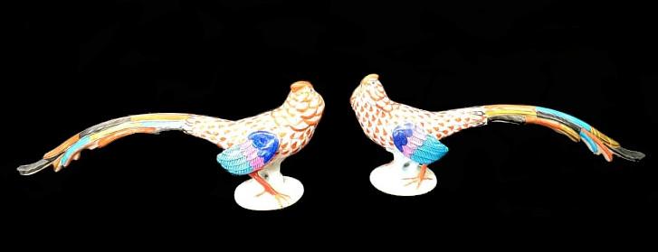 Herend   2x Pheasants   Fishnet