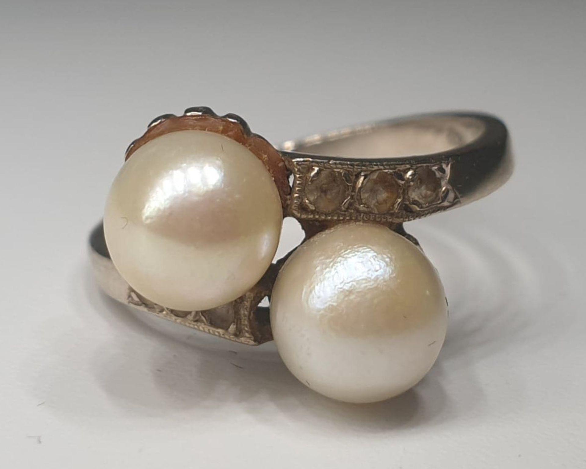 Akoya Pearls   Diamond   14K Gold - Image 4 of 5