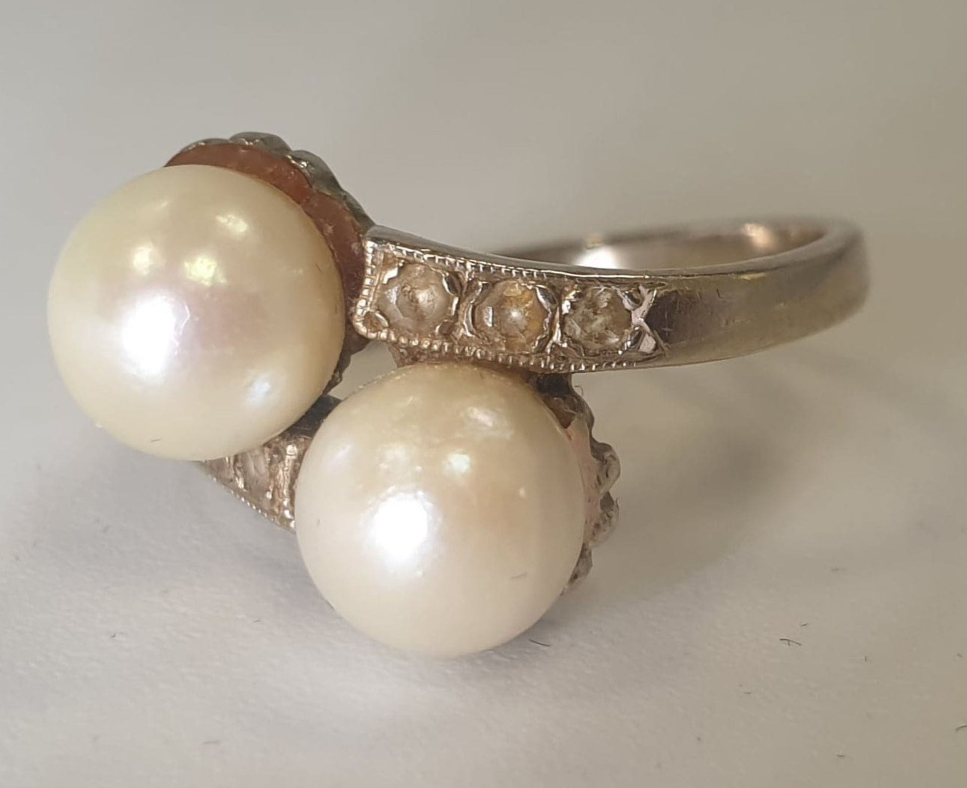 Akoya Pearls   Diamond   14K Gold - Image 5 of 5
