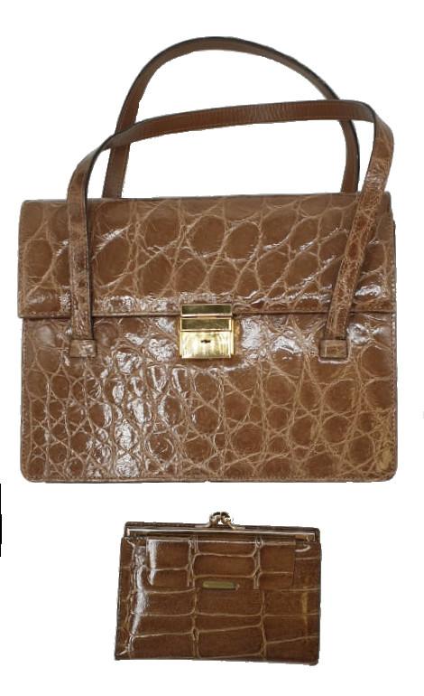 Crocodile Handbag   Brown
