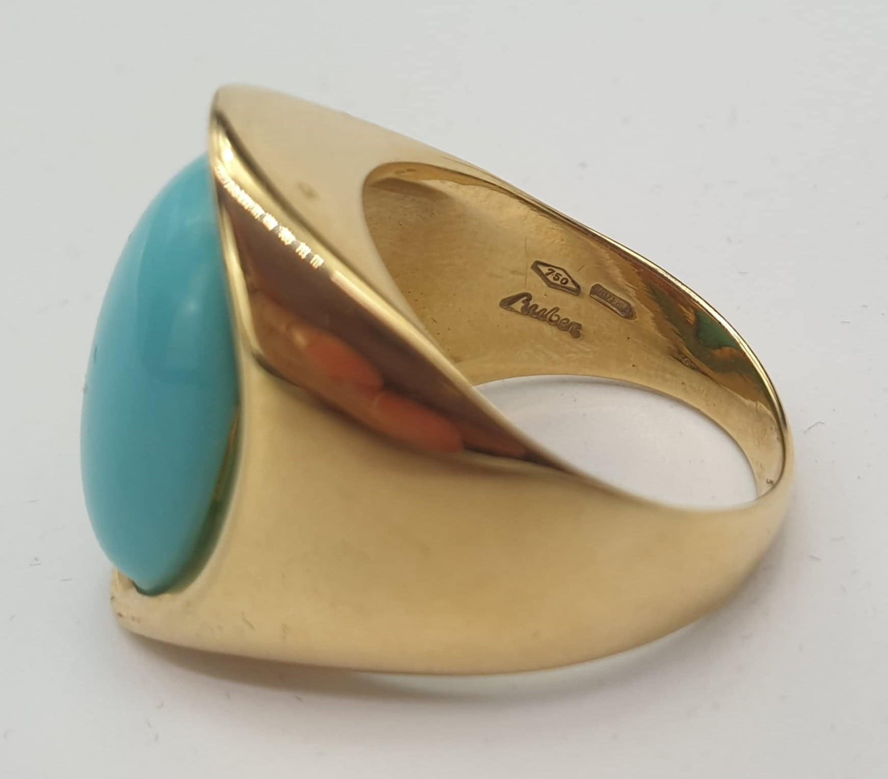 Ring & Ear Clips | Turquoise | 750 (18k) Gold - Image 4 of 6
