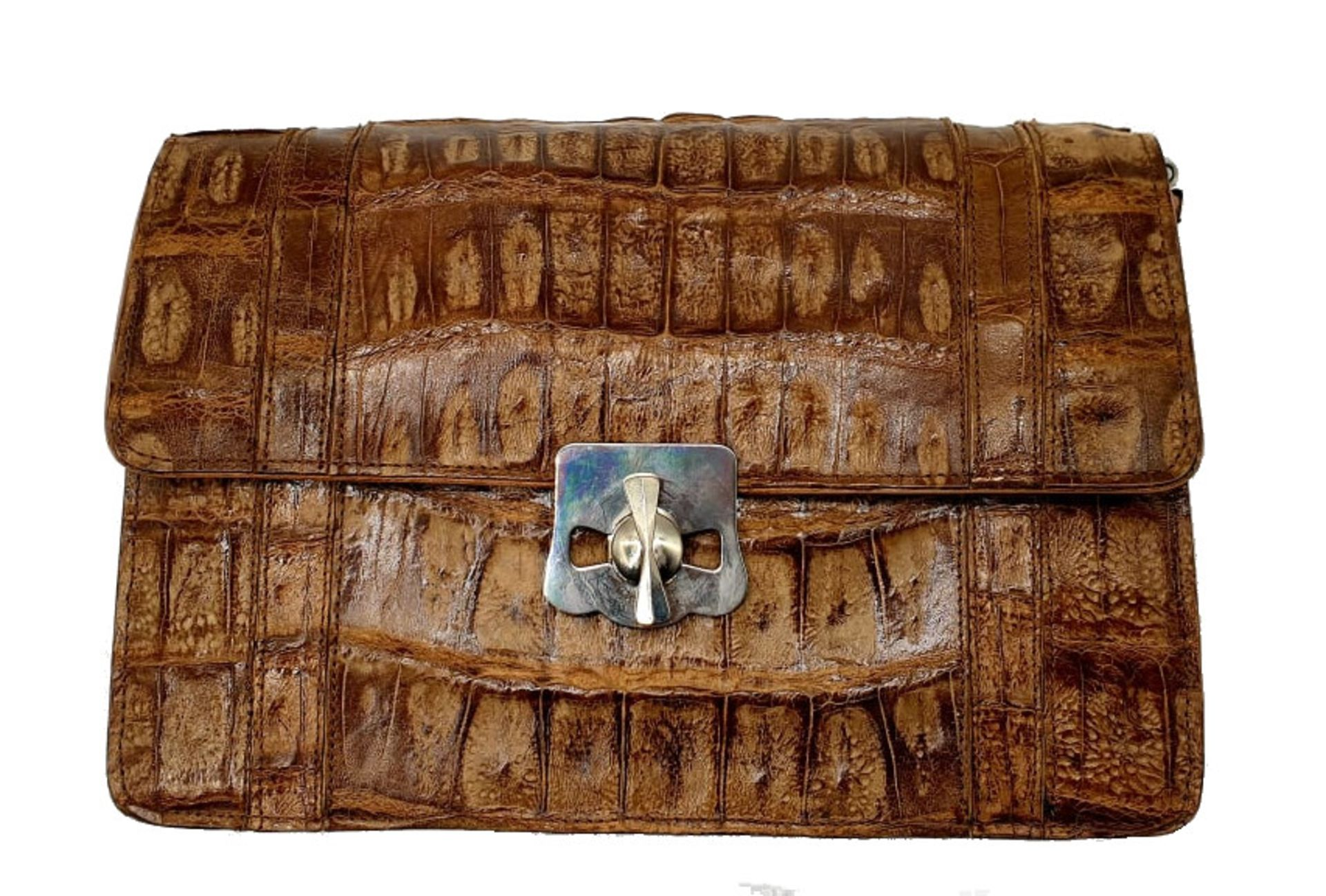 Brown Croco Handbag - Bild 2 aus 8