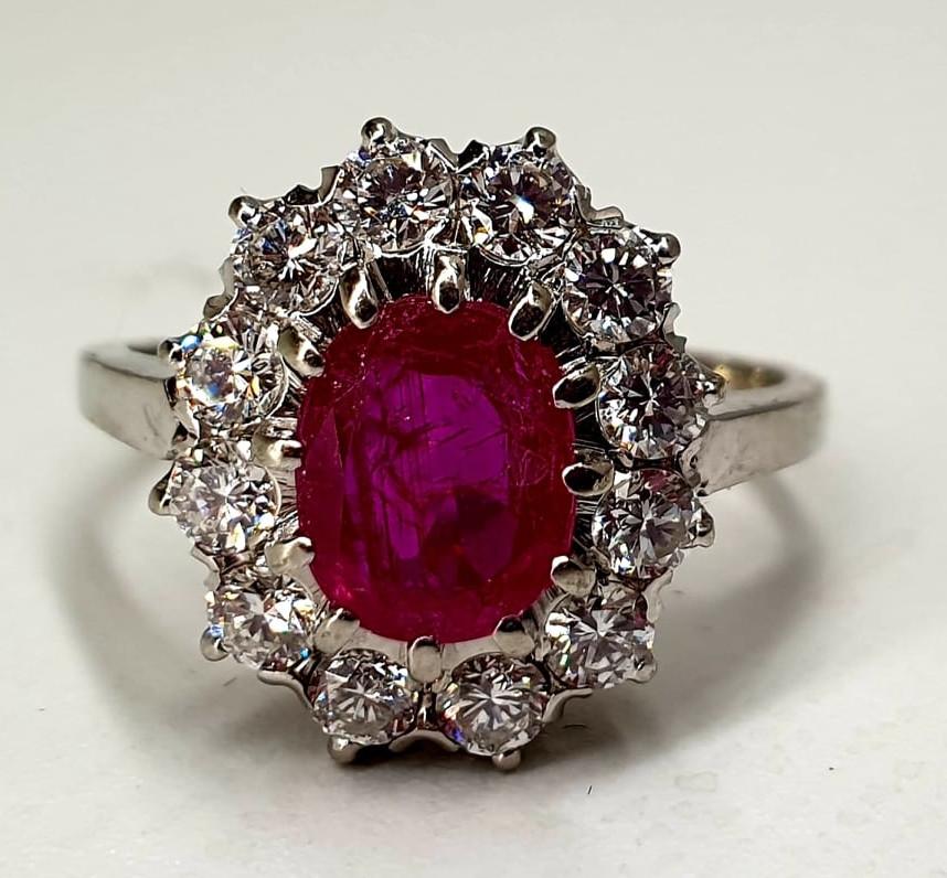 Ring | Diamond & Ruby | 14K - Image 3 of 4
