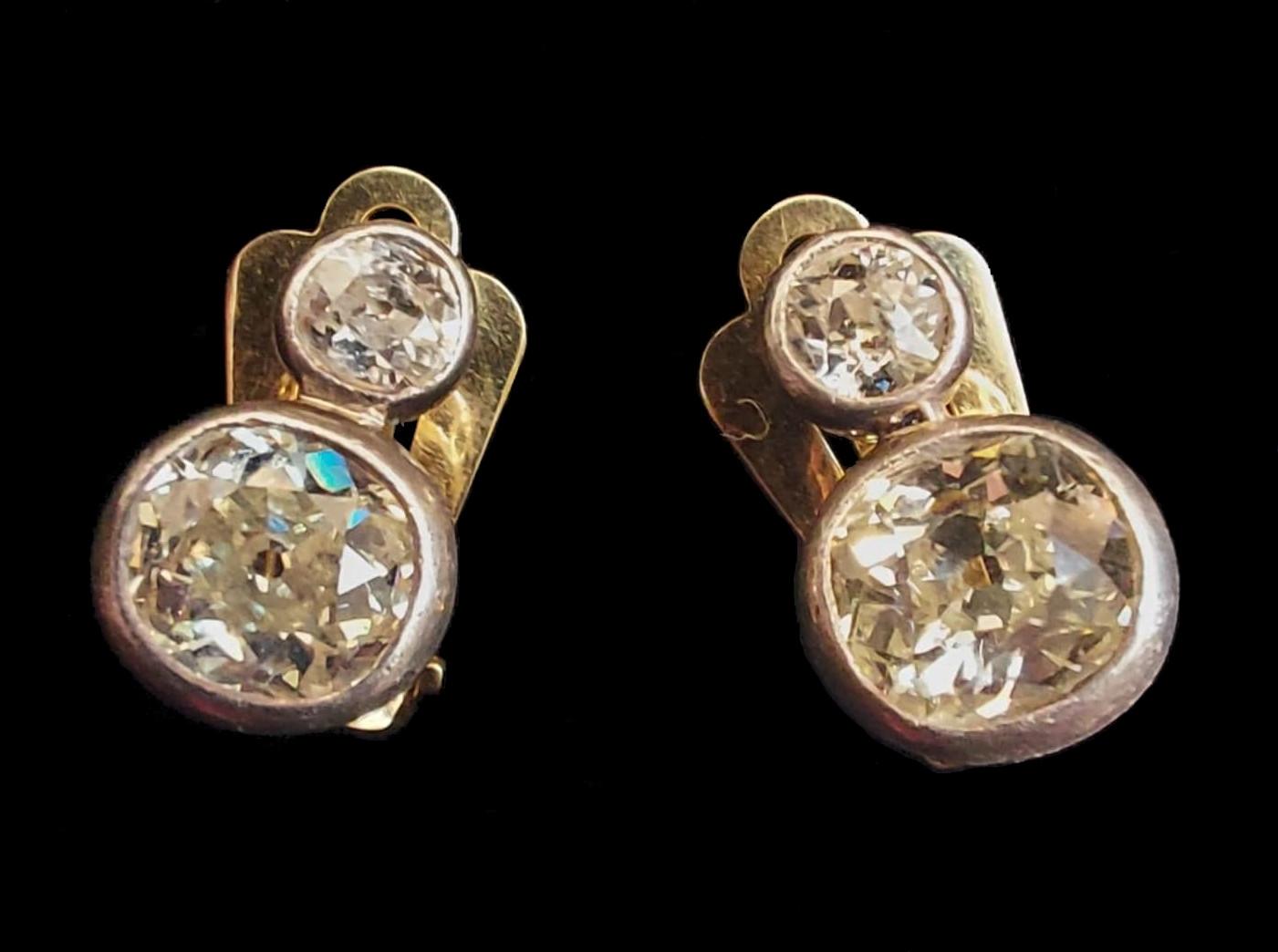 Peruzzi Cut | Diamond | Clip Earrings | 4ct - Image 2 of 5