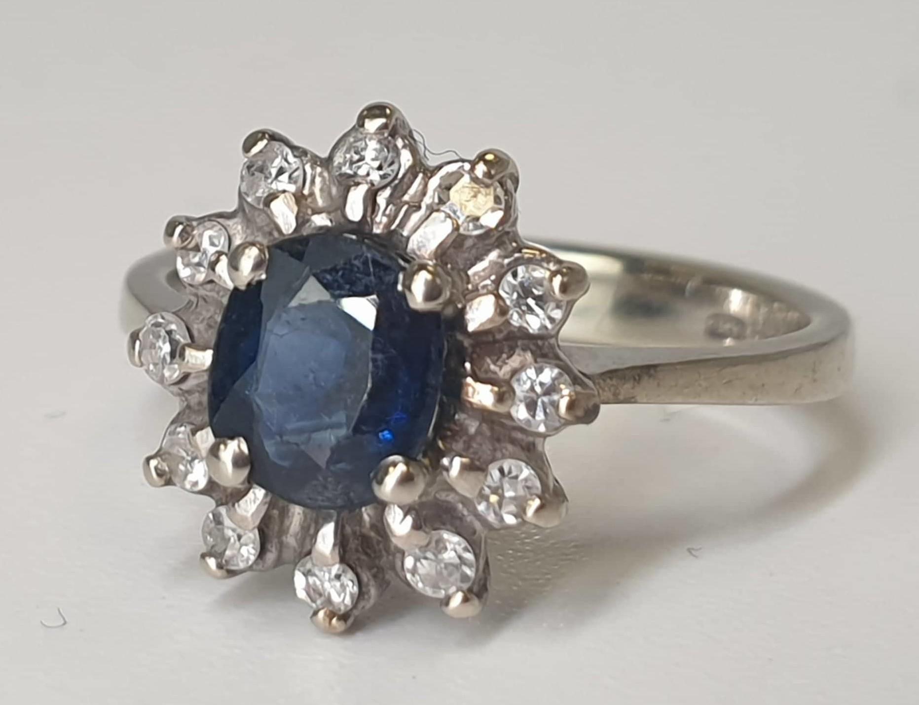 Diamond & Sapphire Ring | 14K White Gold - Image 2 of 5