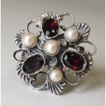Ring | Silver, Bohemian Garnets & Pearl