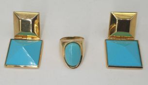 Ring & Ear Clips | Turquoise | 750 (18k) Gold