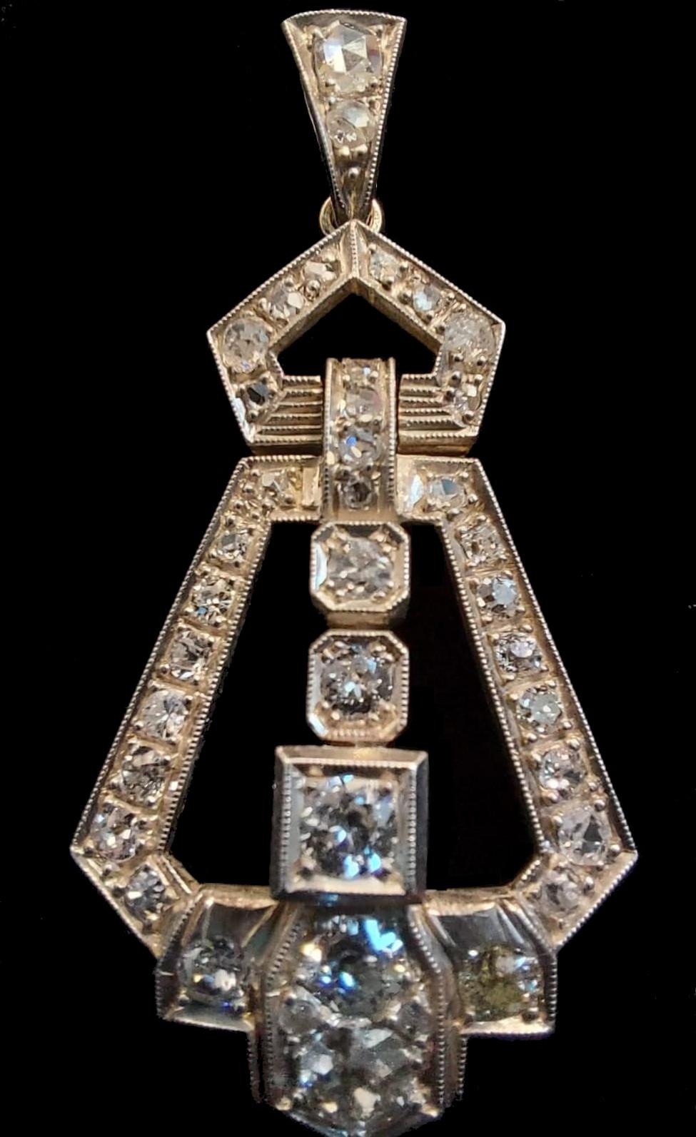 Diamond Pendant   Art - Deco