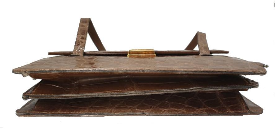 Crocodile Handbag   Brown - Image 7 of 9