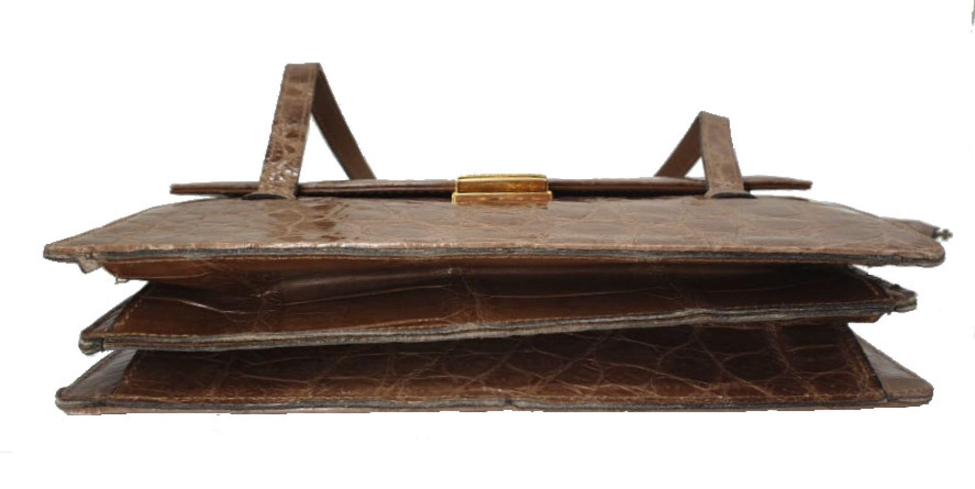Crocodile Handbag | Brown - Image 7 of 9