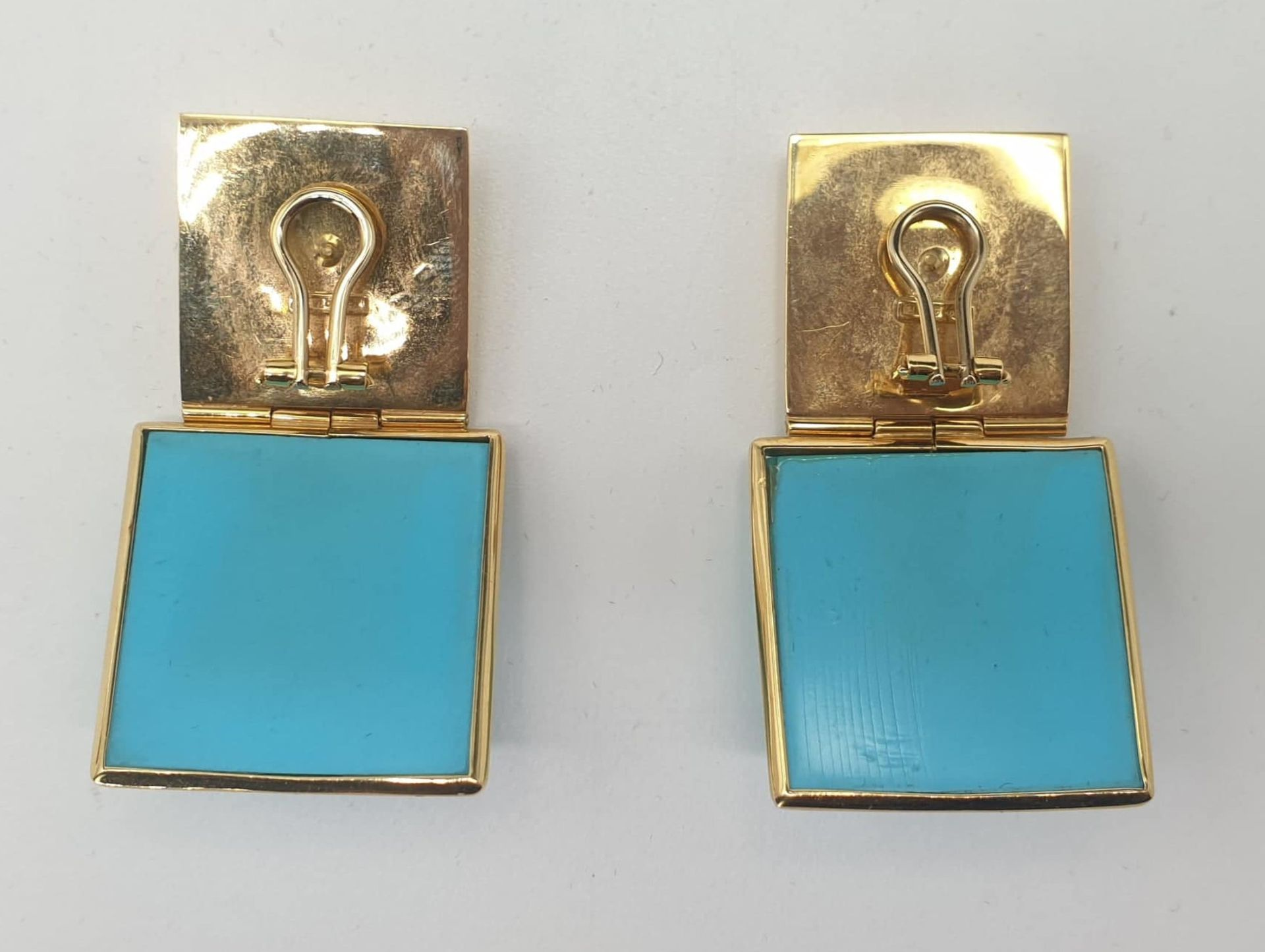 Ring & Ear Clips | Turquoise | 750 (18k) Gold - Image 5 of 6