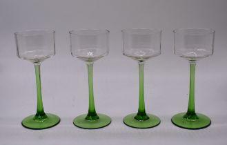 4x Green Stem   Clear Glass