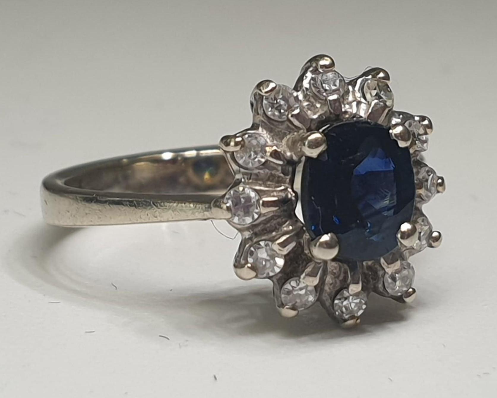 Diamond & Sapphire Ring | 14K White Gold - Image 3 of 5