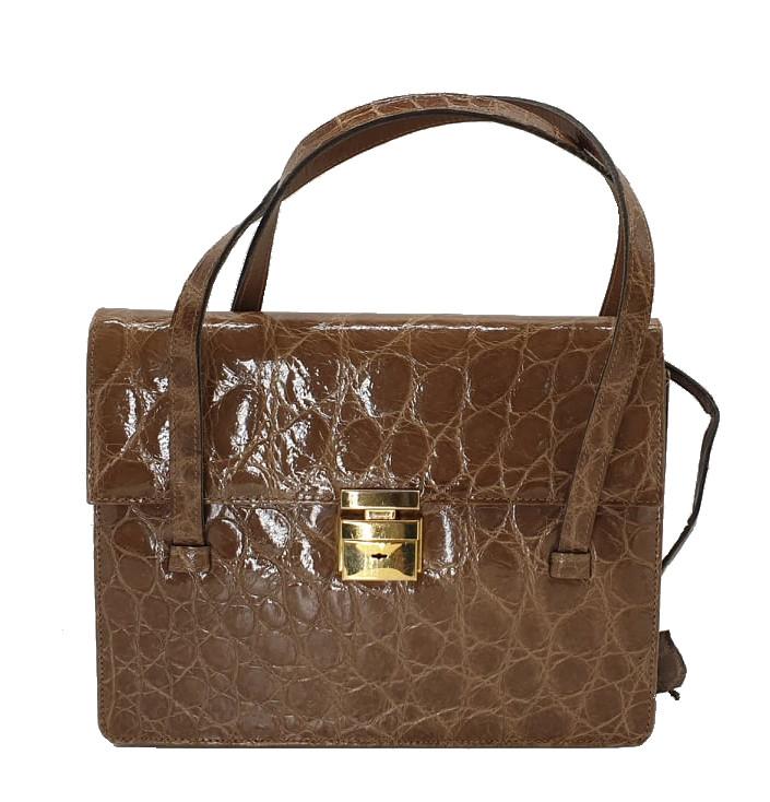 Crocodile Handbag   Brown - Image 3 of 9