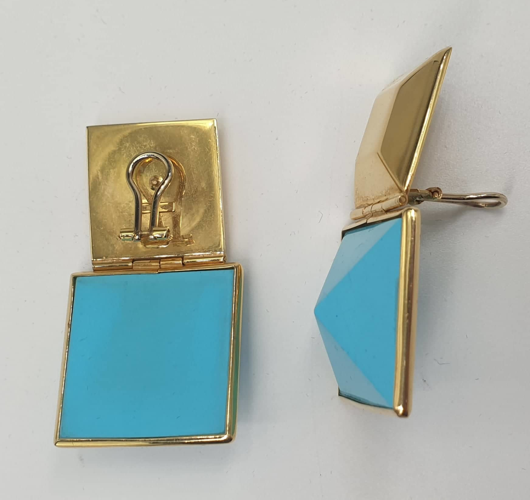 Ring & Ear Clips | Turquoise | 750 (18k) Gold - Image 6 of 6