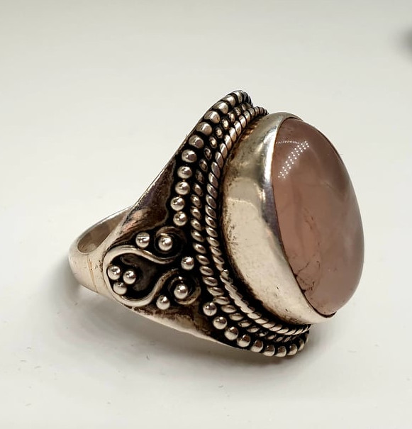 2x Silver Rings   Rose Quarz - Image 6 of 7