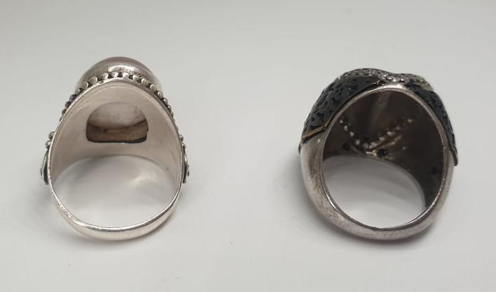 2x Silver Rings   Rose Quarz - Image 2 of 7